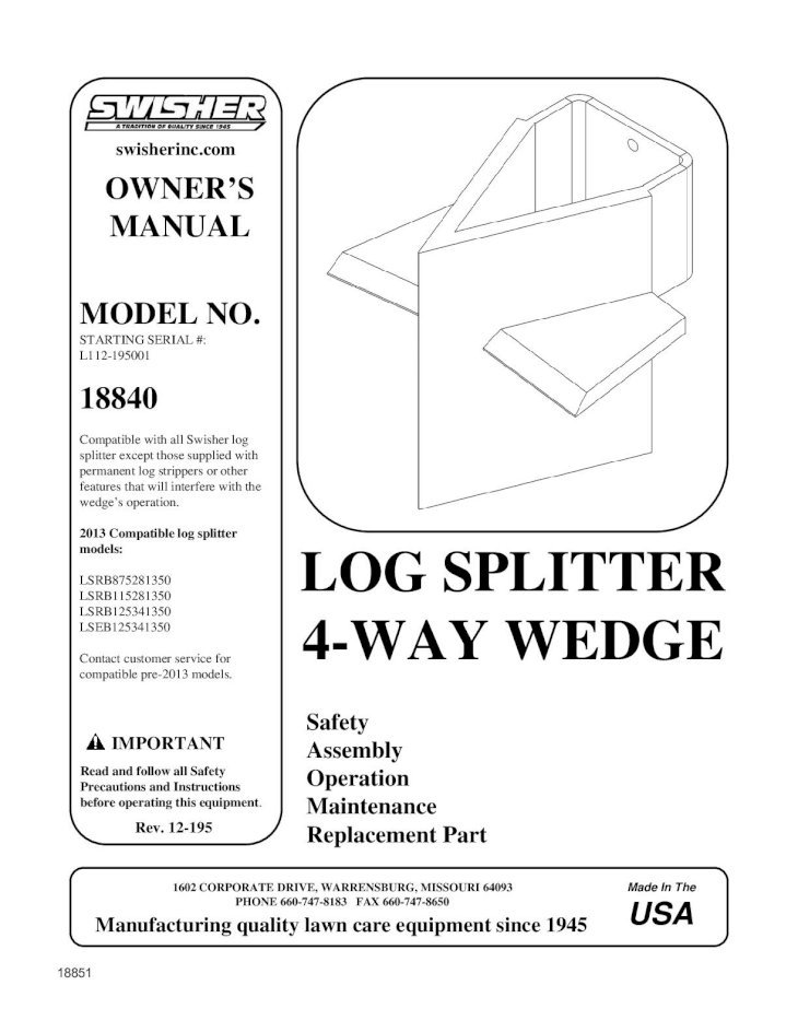 Log Splitter 4 Way Wedge The Home Depot Splitter 4 Way Wedge Damages And Any Implied Warranties Are Limited To The Same Efficiency Of Your Swisher Splitter By Splitting The Pdf Document
